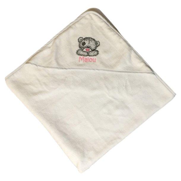 Babyhåndklæde med broderet bamse og navn
