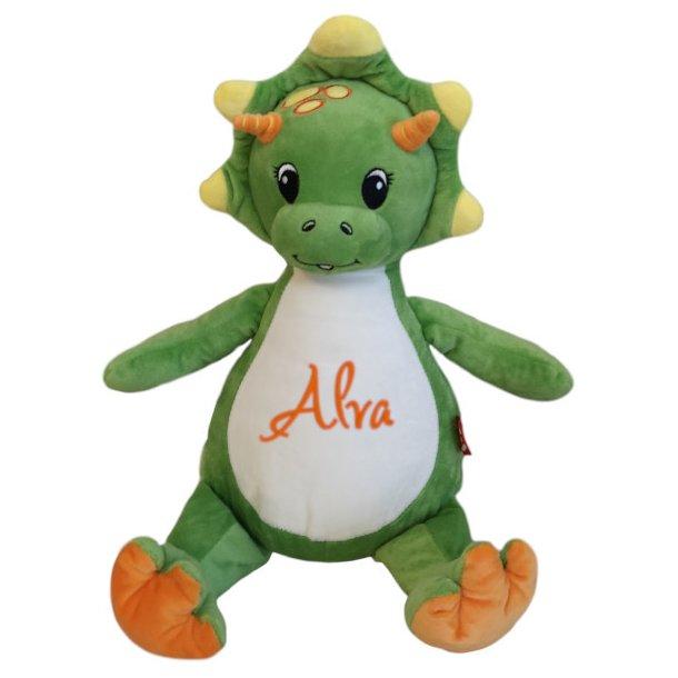 Grøn dino bamse med navn